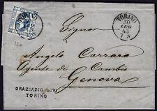 1863 - Lettera da Torino resa franca con cent.15 (Sassone n.12) - uso isolato