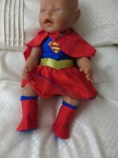 "clothes for 17"" baby born doll  ""superwoman"""