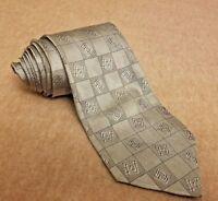 Versace Classic Men's Tie Silk Geometric Silver Gray Classic Necktie made Italy