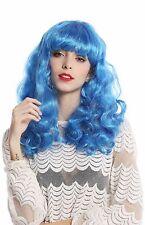 Perruque Pour Femme Halloween Carnaval lang ondulées Pony bleu clair Discothèque