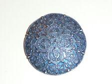 """Gorgeous Large Blue Floral Antique Repro Metal Shank Button 1-9/16"""" Blue Flowers"""