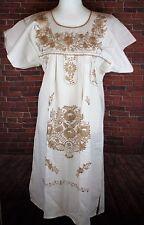 Small Manta 100% Cotton Boho Peasant Tunic  Hand Embroidered Mexican Dress Cream