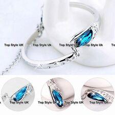 Blue Topaz Silver Tennis Bracelet Bangle Gifts for Her Women Girls Wife Mum B2