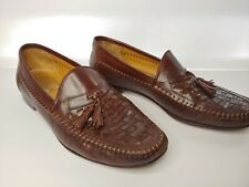 Vtg Nordstrom Woven Leather Dress Loafers Tassels Hand Crafted In Italy Size 10M