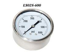 "New Hydraulic Liquid Filled Pressure Gauge 0-600 PSI 1/4"" NPT Center Back Mount"
