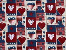 FAT QUARTER FABRIC AMERICANA  PATRIOTIC COUNTRY HOME STARS HEARTS FLAG COTTON FQ