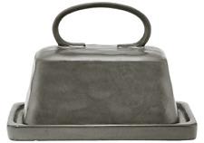 Ladelle Stoneware Butter Dish w/ Lid - Roast Range - Dark Charcoal Unique Design