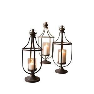 Vintage Style Black Metal Lanterns Set Three Pillar Candle Glass Hurricane