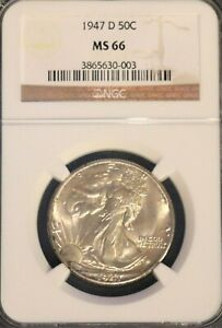 1947-D Walking Liberty Half Dollar - NGC MS66 - #33745