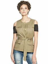 GUESS Vest Women's Stretch Cotton Twill Vest Jacket w- Waist Tie Top S Olive NWT
