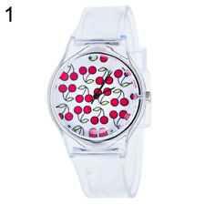 Kids Women Clear Colorful Dial Silicone Band Quartz Analog Wrist Watch Showy