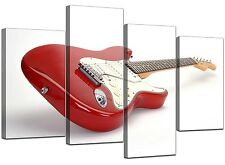 Large Red Guitar Canvas Wall Art Pictures 130cm Wide XL Prints 4007