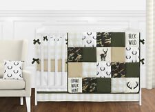 Woodland Camo Green Beige Deer Buffalo Plaid Check Baby Boy 9pc Crib Bedding Set