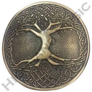 HM Men's Tree Celtic Round Kilt Belt Buckle Antique Finish/Tree Belt Buckles