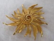 Vintage Hattie Carnegie Burst Big Flower Brooch Floral Pin Gold Tone