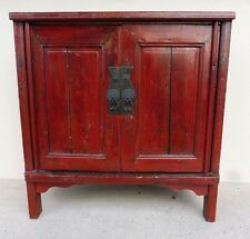 64c0acf72 19TH C CHINESE COROMANDEL RED PEASANT CABINET W BOLD IRON PULLS & GILT  PAINT P
