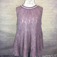 Sz L - Free People Women's Sheer Lace Peplum Top Sleeveless Knit Crew Neck