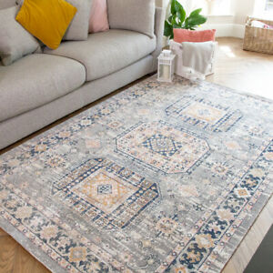 Low Pile Vintage Rug for Living Room Antiqued Effect Rugs Easy Care Area Rugs UK