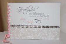 Gästebuch zur Hochzeit , weiß - hellrosa - silber