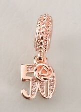 Rose Gold Plated Fifty 50 50th Birthday Cz Heart Pendant Charm For Bracelets