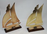Pair Antique Solid Brass Models of Sailing Boats 28 x 20 cms