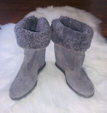 UGG Australia Kyra Womens Size 7 Gray Suede Genuine Shearling Wedge Ankle Boots