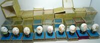9 Vintage 1970s Chinese Hand Painted Egg in Wooden Glass Display Cases HUGe Lot