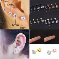Stainless Steel Earring Stud Cartilage Tragus Bar Helix Upper Ear Clip Crystal 1