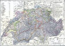 Echte 173 Jahre alte Landkarte der SCHWEIZ CH Suisse Switzerland 1844