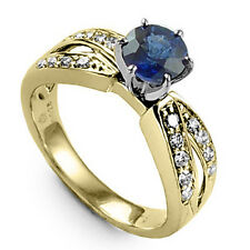 and genuine F-Si1 Diamond Anniversary Ring Solid 18k Gold Blue Ceylon Sapphire
