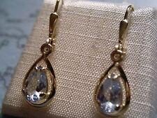 schöne Ohrhänger Gold 333 mit Aquamarin, Aquamarin Tropfen Ohrhänger Gold 333