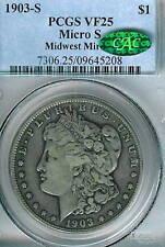 1903-S Micro S Morgan Dollar : PCGS VF25 CAC Sticker