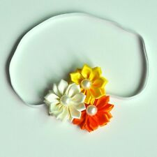 BABY HEADBAND GIRL ADULT TRIPLE SATIN FLOWER THIN ELASTIC CHRISTENING FLOWERGIRL