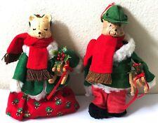 VTG Artisan Porcelain Felt Cloth Christmas Teddy Bear Couple Sleds Ornaments