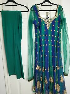Ladies Blue and Green Indian Dress Anarkali Asian Party Eid Size XL 18