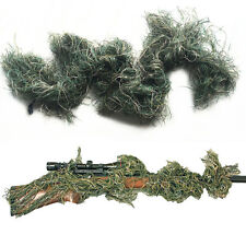 3D Woodland Paintball Sniper Rifle Wrap Synthetic Thread Gun Cover Ghillie Suit