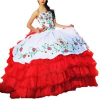 Red white Ball Gown Quinceanera Dresses Long Prom dresses Embroidery Bridal Gown