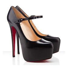 Christian Louboutin Lady Daffodil Black Leather 160 Platform Shoes 36.5