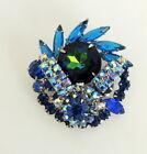 Blue Rhinestone Broach Pin D & E Jewelry Peacock Round Center Stone Unsigned