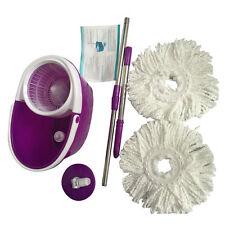 Spining Magic Microfiber Mop + Bucket 2 Heads Rotating 360°Easy Floor Mop Purple