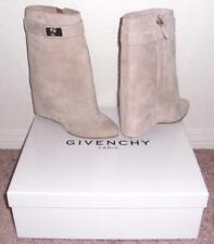 NIB Givenchy Shark Lock Suede Fold Over Wedge Mid-Calf Boots Booties 36