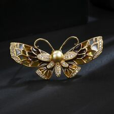 GORGEOUS 18K GOLD PLATED GENUINE AUSTRIAN CRYSTAL/PEARL BUTTERFLY BROOCH.