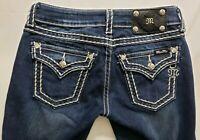 Miss Me Boot Cut Womens Denim Blue Jeans Size 27 x 32 Dark Wash Low Rz Flap EUC