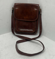 Vintage Made In USA 100% Brown Leather adjustable strap Shoulder Bag Purse O1