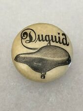 Antique 1890s 1900s Bicycle Stud Celluloid Button Pin DUQUID Bike Seat Graphics