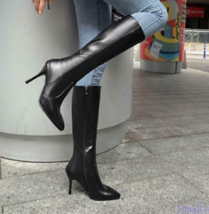 Women's Pointy Toe Wedding Mid Calf Boots Stilettos High Heels Sexy Plus Size 45