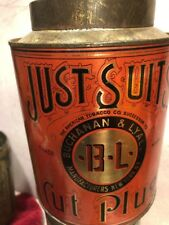 JUST SUITES ROUND ORIGINAL OLD TOBACCO TIN