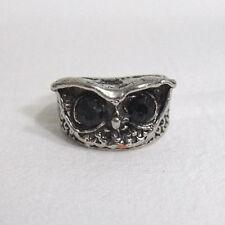 Silver Tone Owl Face Ring w/ Cut Black Onyx Style Eyes - Goth Victorian