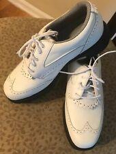 Nwob Etonic Stabilites Womens White Wingtip Leather Golf Shoes Size 7 Medium