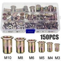 150Pcs insert à river écrou aveugle fileté M3/M4/M5/M6/M8/M10 rivet Assortiment